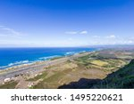High angle view of Dillingham air field on the north shore of Oahu Hawaii