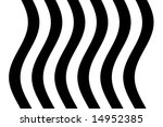 Six sweeping wavy black lines on a white background - stock photo