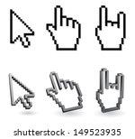 cursor pixel   arrow and hand 3d | Shutterstock .eps vector #149523935