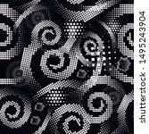 digital halftone spirals vector ... | Shutterstock .eps vector #1495243904
