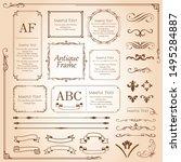 vintage vector set. floral... | Shutterstock .eps vector #1495284887