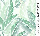 vector green leaves seamless... | Shutterstock .eps vector #1495293524