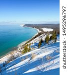 Long shadows of Winter over Empire Bluff, Sleeping Bear Dunes National Lakeshore, Lake Michigan Overlook.