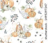 Watercolor Autumn Seamless...