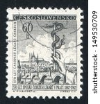 Small photo of CZECHOSLOVAKIA - CIRCA 1962: stamp printed by Czechoslovakia, shows View of Prague and staff of Aesculapius, circa 1962