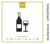 bottle of wine and wineglass...   Shutterstock .eps vector #1495359641