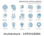 artificial intelligence line... | Shutterstock .eps vector #1495418084