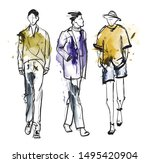 stylish handsome mans in... | Shutterstock .eps vector #1495420904