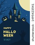 halloween castle and pumpkin... | Shutterstock .eps vector #1495423541