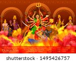 illustration of goddess durga... | Shutterstock .eps vector #1495426757