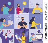 set informational flyer... | Shutterstock .eps vector #1495443311