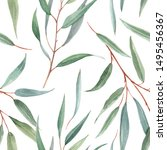 watercolor tropical floral... | Shutterstock . vector #1495456367