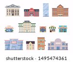 flat city buildings. school ... | Shutterstock .eps vector #1495474361