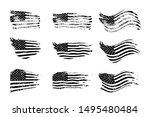 black vintage usa flags... | Shutterstock .eps vector #1495480484
