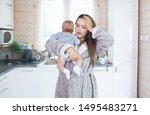 young beautiful tired sterssed...   Shutterstock . vector #1495483271