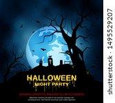 halloween scary night vector... | Shutterstock .eps vector #1495529207
