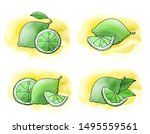 lemon and lime fruit icons with ...