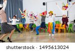 happy laughing pupils and their ...   Shutterstock . vector #1495613024