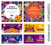 set of happy halloween banners... | Shutterstock .eps vector #1495682021