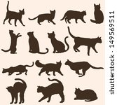 Stock vector vector silhouettes of cats 149569511