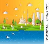 hands drawn illustration of... | Shutterstock .eps vector #1495717994
