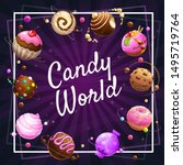 candy world poster. glazed... | Shutterstock .eps vector #1495719764