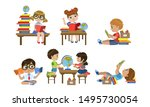 cute kids reading books set ... | Shutterstock .eps vector #1495730054