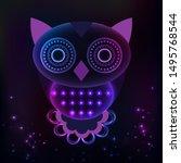owl of geometric shapes  vector ... | Shutterstock .eps vector #1495768544