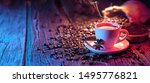coffee cup with beans on a... | Shutterstock . vector #1495776821