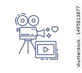 camera and film line icon....