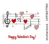 valentines day card with music... | Shutterstock .eps vector #1495847984