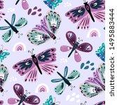Colorful Folk  Seamless Pattern ...