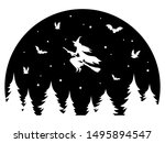 witch flying on a broomstick at ... | Shutterstock .eps vector #1495894547