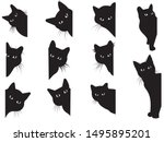 set of black cats looking out... | Shutterstock .eps vector #1495895201