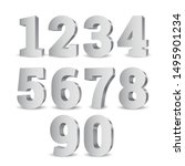 silver 3d numbers. symbol set.... | Shutterstock .eps vector #1495901234