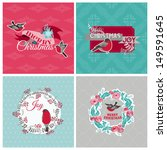christmas cards with birds and... | Shutterstock .eps vector #149591645