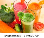 various freshly vegetable juices | Shutterstock . vector #149592734