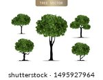 set of realistic trees on white ... | Shutterstock .eps vector #1495927964