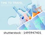 various travel attractions in...   Shutterstock .eps vector #1495947401
