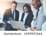 group of diverse businesspeople ... | Shutterstock . vector #1495957664