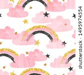seamless pattern with pink...   Shutterstock .eps vector #1495974554