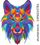 Colorful Wolf With A White...