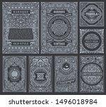 vintage vector set retro cards. ... | Shutterstock .eps vector #1496018984