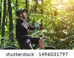 Resting Time. Male Cyclist...