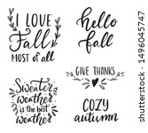 set of hand drawn lettering... | Shutterstock .eps vector #1496045747