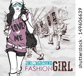 pretty fashion girl in a train. ... | Shutterstock .eps vector #149606639