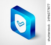 isometric shield with check... | Shutterstock . vector #1496077877