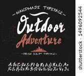 hand drawn calligraphy typeface ... | Shutterstock .eps vector #1496092544