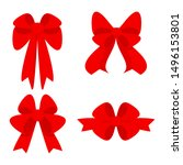 elegant red bows from a wide... | Shutterstock .eps vector #1496153801