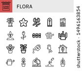 set of flora icons such as... | Shutterstock .eps vector #1496163854